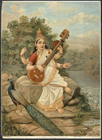 Sarasvati2._Chromolithograph_by_R._Wellcome_V0045121